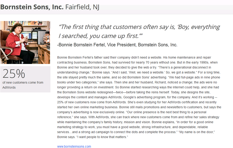 Read the interview of Bonnie Bornstein Fertel of Bornstein Sons by Google.