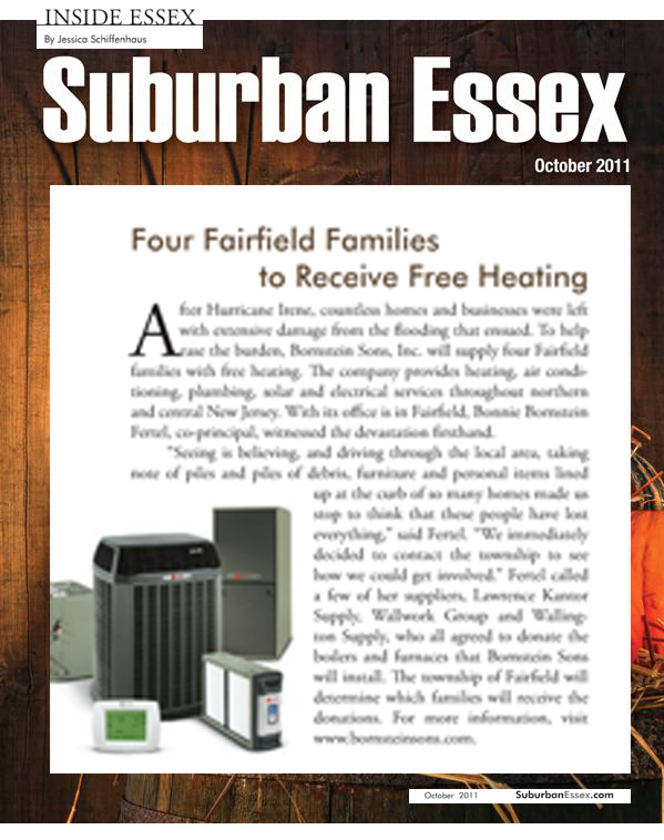 Bornstein Sons donates heating system installations to 4 families in Fairfield NJ after Hurricane Irene 2011